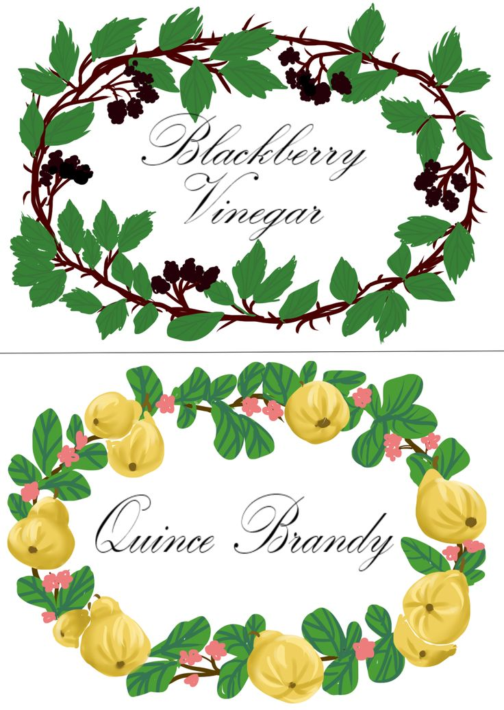 Some bottle labels I designed for some home made christmas gifts. Quince brandy recipe Blackberry vinegar recipe