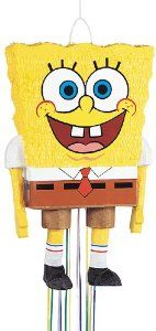 """24"""" Sponge Bob Birthday Party Pull String Pinata 66084 by Unique Industries. $14.52. Unique Industries. 011179660841. Brand New Item / Unopened Product. 66084. This pull string  pull pinata has 12 strings on the bottom. When the right string is pulled, the bottom drops out. A removable sticker marks the opening where the candy should be inserted.  This package contains one  Pinata  and can hold approximately 6lb of candy and pinata fillers.  Pinata filler, pinata buster, p..."""