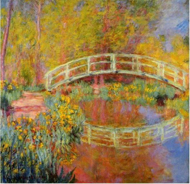 모네가 그린 지베르니 정원 의 다른 작품이다. 이미 올린 그림을 보면 모네가 이 정원에 자주와 그림을 그렸던 것으로 보인다. 집근처의 아름다운 정원과 그와 잘 어울리는  일본식 다리.. 그의 여섯 자녀와 같이 놀러 왔을 것같은 인상을 준다. 연못이 있는 아름다운 정원과 여섯명 자녀(^^;)를 가진 모네가 부럽다
