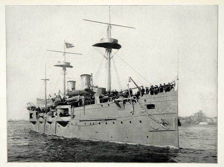 1898 Print Spanish American War Battleship San Francisco John A. Howell SAW1