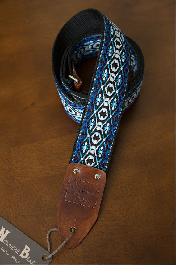 White/Purple/Blue Vintagestyled Guitar Strap by nowherebearstraps, $65.00