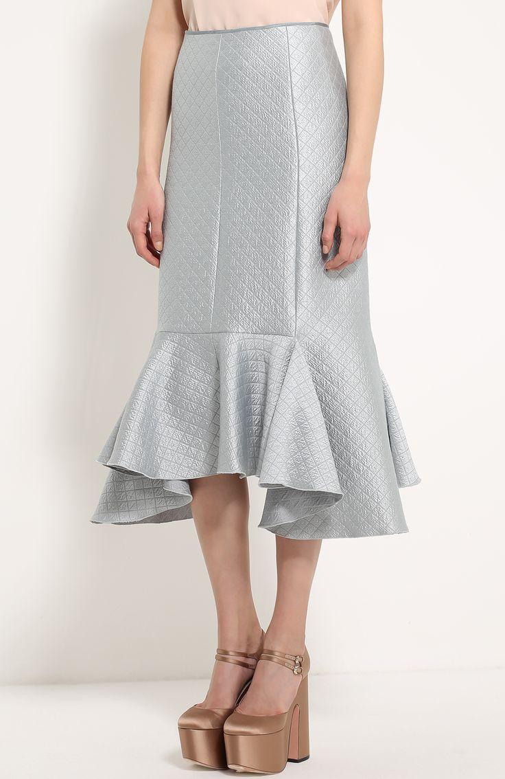 Женская серебряная юбка с металлизированной отделкой и асимметричной оборкой Lanvin, сезон FW 16/17, арт. RW-ST4111-3287-H16 купить в ЦУМ | Фото №3