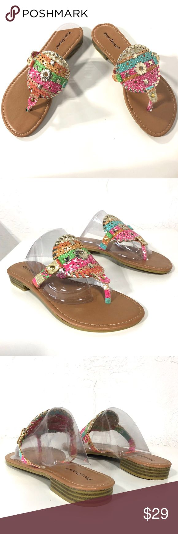 Pierre Dumas Pastel Gold Pink Sandals Flip flops Comfortable and beautiful sandals by Pierre Dumas. Pink, orange, green, blue, beige and gold colors on fabric emblem. Medium width and true to size. Pierre Dumas Shoes Sandals