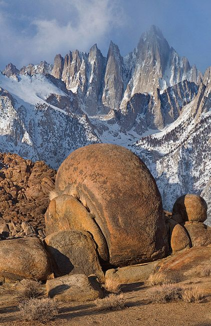 Mount Whitney ~ the highest peak In the contiguous United States, and Alabama Hills' boulders. Alabama Hills, California; photo by Mike Reyfman