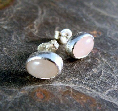 Sterling Silver Rose Quartz Post Earrings