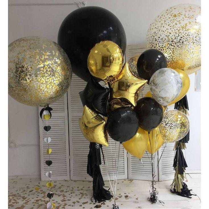 Gold Balloons, Gold Confetti Balloons, Black Balloons