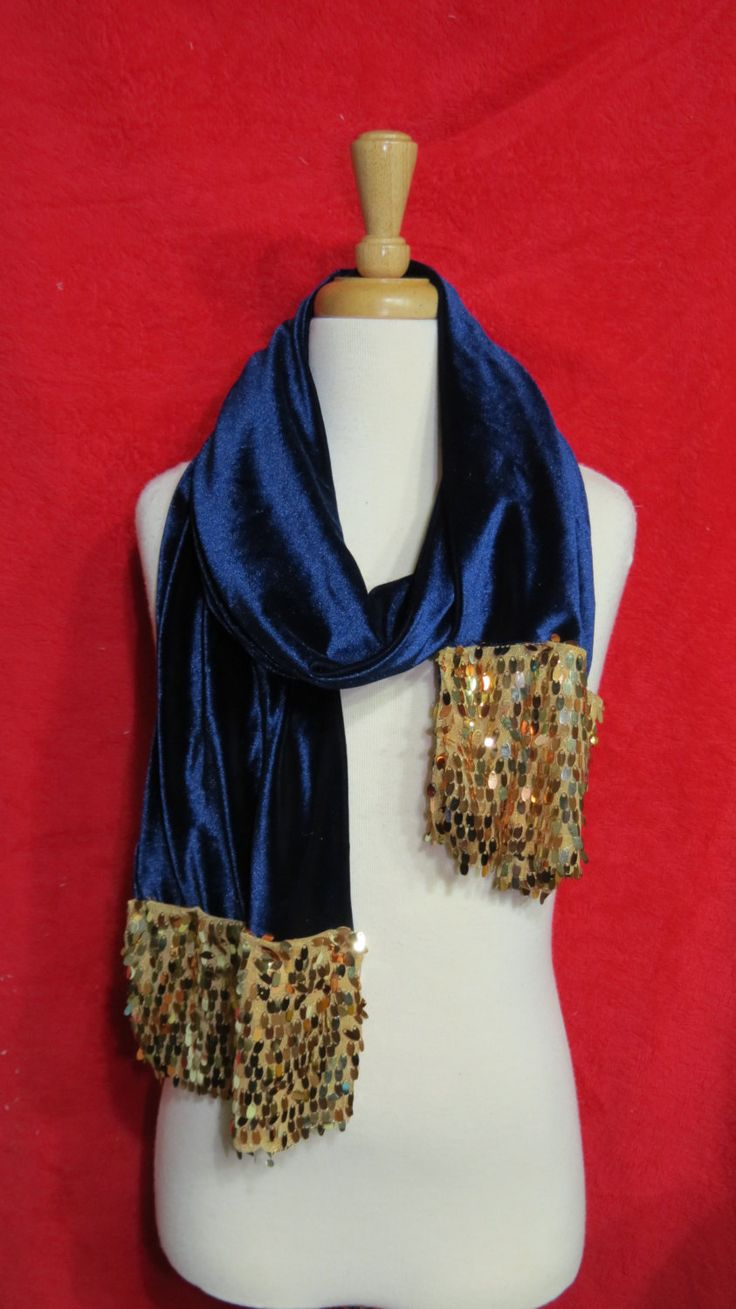 Navy Silk velvet sequence embellished stole/ Navy silk velvet sequence embellished scarf/ FREE HOLIDAY SHIPPING by MyCuteFrills on Etsy