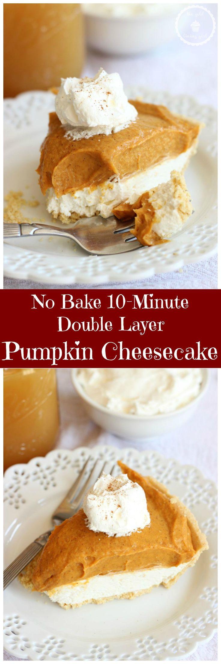 Double Layer No Bake Pumpkin Cheesecake