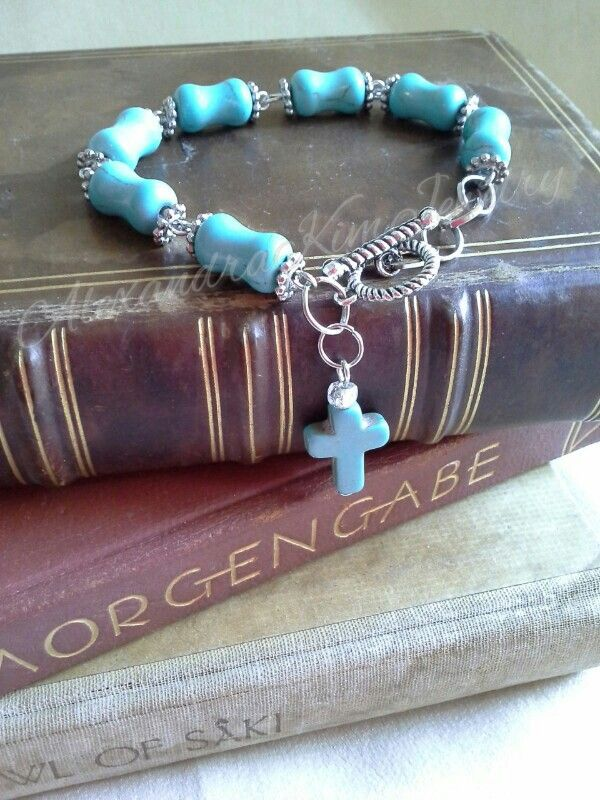 Turquoise cross silver bracelet
