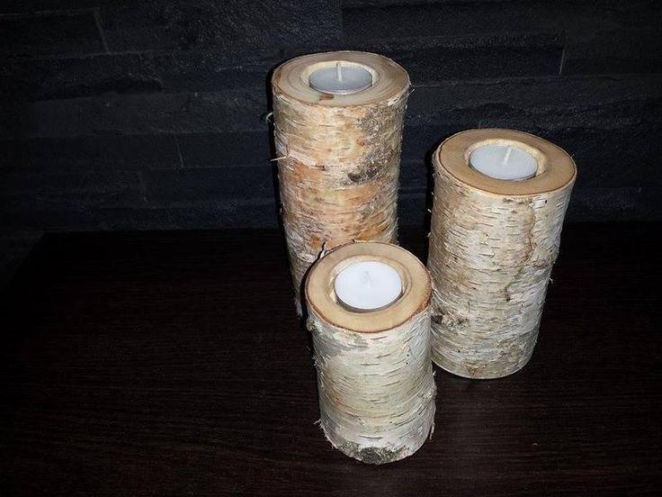 Komplet Trzy drewniane świeczniki, Brzoza drewno  w Powercard na DaWanda.com