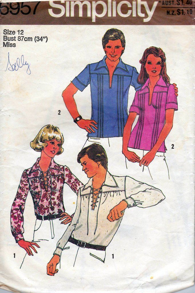 Simplicity 6957 Womens Boho Blouse / Hippie Shirt Vintage Sewing Pattern Size 12 Bust 34 inches