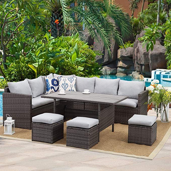 Amazon Com Wisteria Lane Patio Furniture Set 7 Pcs Outdoor Conversation Set All Weather Wic In 2020 Outdoor Furniture Sets Patio Furniture Sets Wicker Patio Sectional