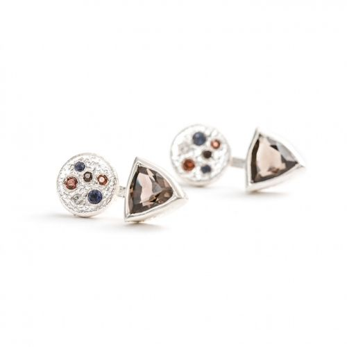 Trillion Earrings | Silver Smoky Quartz