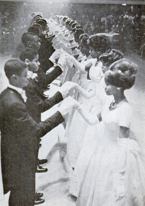 How elegant   Here was a debutante ball in the late 1950s  or possibly early 1960s   The hair and dresses are just so elegant    And the couples look rather smashing  too