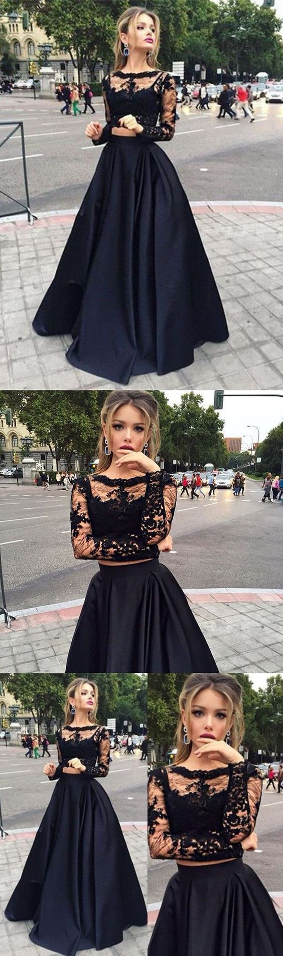 Bateau Long Sleeves eleagnt prom dresses, Floor-Length Black fashion party dresses, Two Piece evening Dress with Lace
