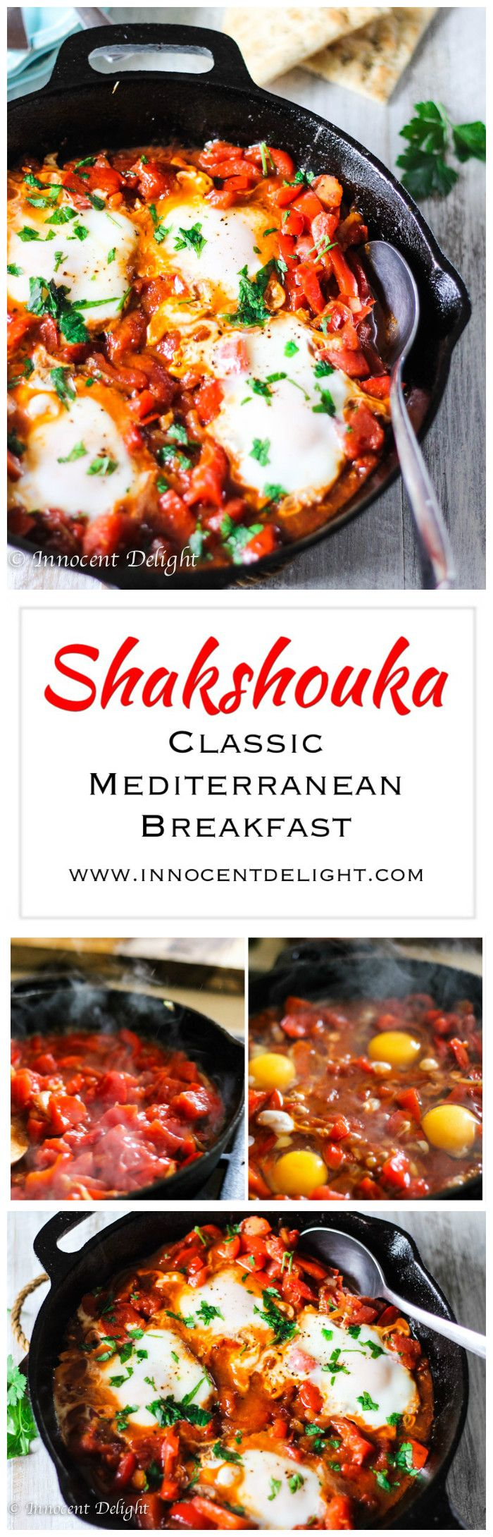 Shakshouka – Classic Mediterranean Breakfast – bell peppers and tomatoes dish on which eggs are added. Divine!
