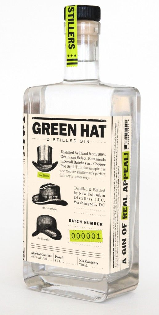 Green Hat Gin. Retro design and tone of voice. #Packaging #alcoholbranding