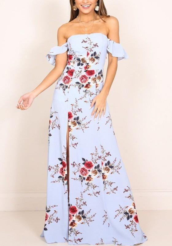 f68ac19a1d8f Light Blue Floral Print Bandeau Off Shoulder Side Slit Bohemian Maxi Dress  in 2019 | GET IN MY CLOSET | Dresses, Fashion, Fashion dresses