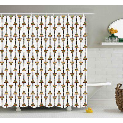 "Ebern Designs Alison Tribal Native American Style Rainbow Colors Arrow Figures Primitive Art Triangles Design Shower Curtain Size: 69"" W x"