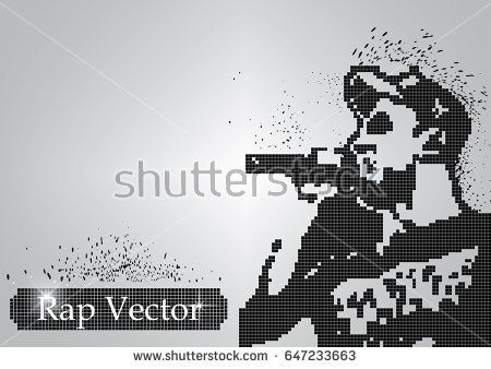 Silhouette of a rap singer from halftone particles. The rap singer in a cap sings into a microphone and the particles scatter in different directions - vector illustration.