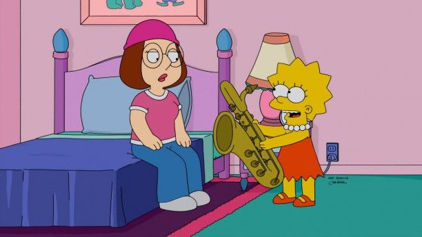 Lisa Simpson offers Meg Griffin her saxophone to play.