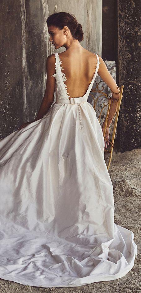 Gorgeous silk square back ballgown wedding dress; Featured Dress: Elbeth Gillis