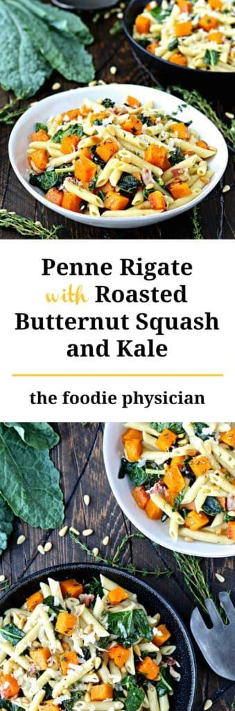 Penne with Roasted Butternut Squash and Kale- this hearty pasta dish is packed with flavor and nutrition!