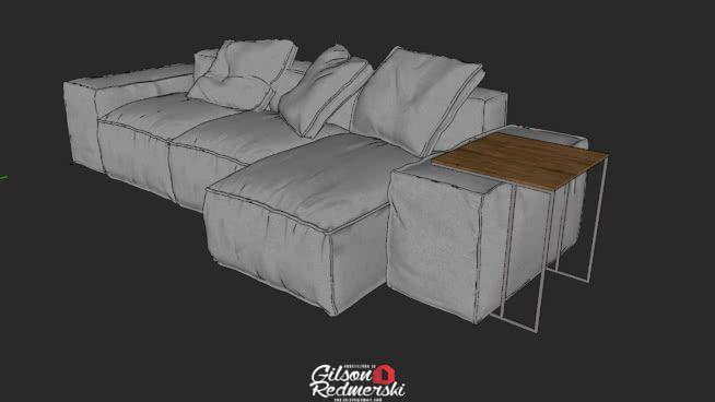 Large preview of 3D Model of SOFÁ + BANDEJA DE BRAÇO