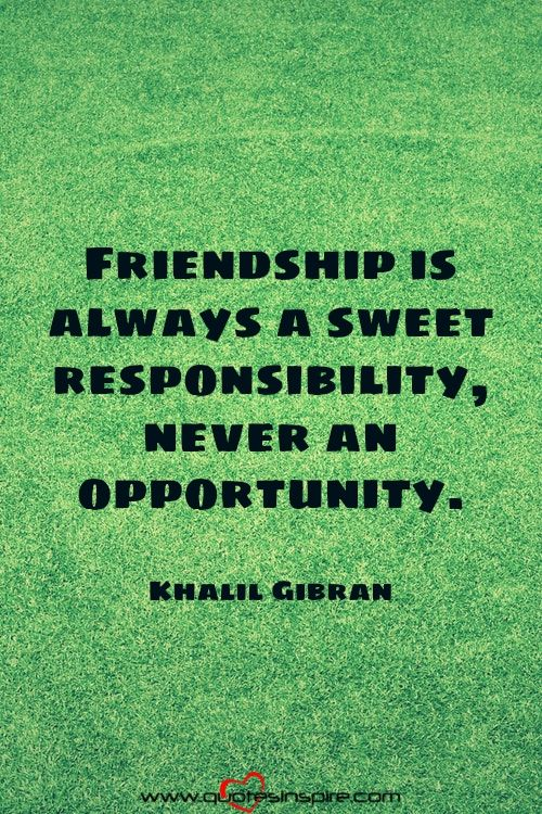 Friendship is always a sweet responsibility, never an opportunity. Khalil Gibran