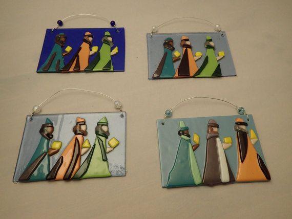 Fused Glass Art Ornament Three Wise Men by ArtInspirationsbyMM