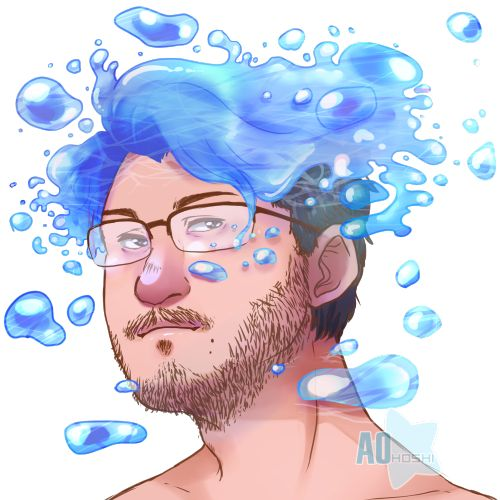 Markiplier by: aohoshiart << SOMEONE MAKE THIS WITH HIS RED HAIR EXCEPT FIRE AND PINk like gum or something idk