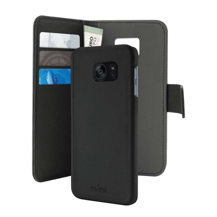 Puro Puro Smg Galaxy S7 Eco-Leath. Wallet w/Magnetic Cover Blk www.kabelfabrikken.no
