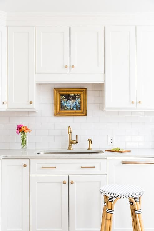 White Shaker Kitchen Cabinets with Gold Hardware, Transitional, Kitchen