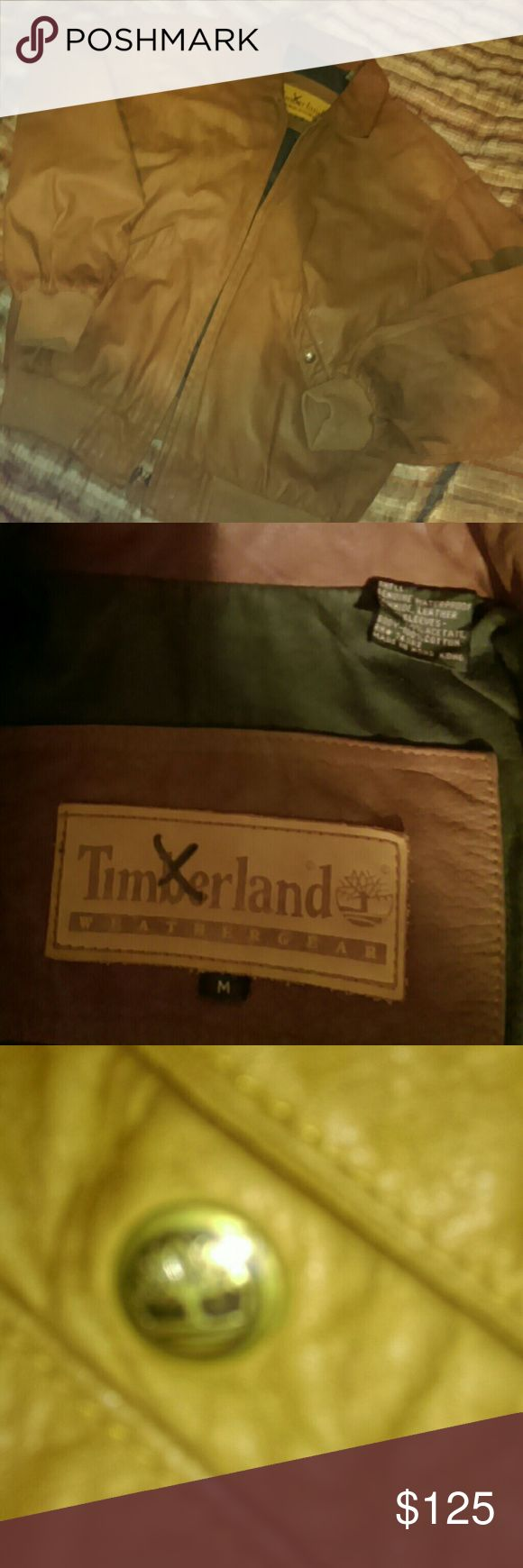 Timberland Leather Jacket..mens Gently Used....medium Timberland Jackets & Coats