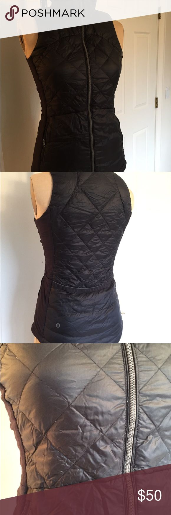 Lululemon Vest Running Goose Down Lulu vest down for a run black   💯 goose down vest owned a year  One small mark at inside collar see pic Normal wear and tear  Message with any questions lululemon athletica Jackets & Coats Vests