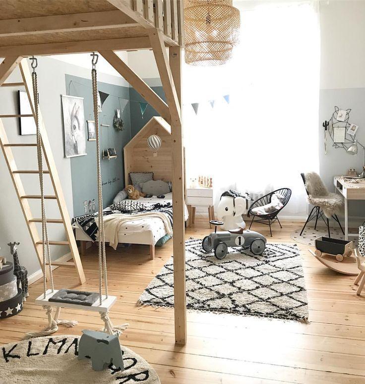 Kinderzimmer: schöne Farben + schwarz / weiß + Ikea Sinnerlig Lampe (liebe es!) + HOLZ (immer gut!)
