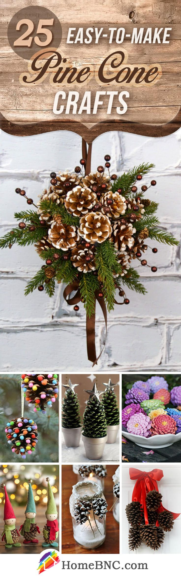 Pine Cone Craft Ideas For Christmas Part - 21: 25 Beautiful DIY Pine Cone Crafts To Enjoy Making The Holiday Decoration