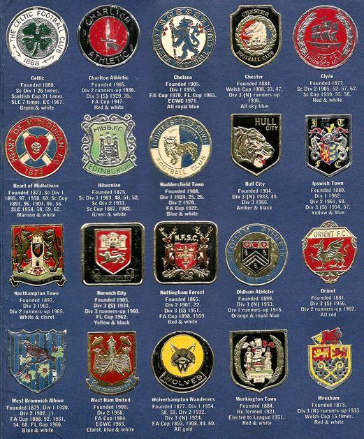 Esso football club badges, 1971 or '72.