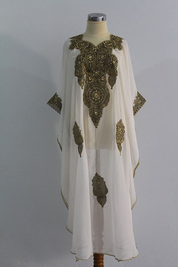 White caftan Moroccan Style Chiffon FULL Gold by aboyshop on Etsy, $55.55