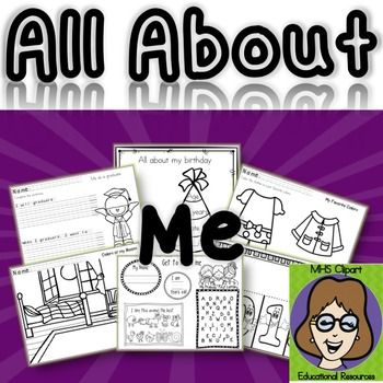 All About Me.*All about me* with a twist, 4 pages of regular  all about me questions simplified.Added 7 all about me pages with a birthday theme.Updated Nov2014 with more coloring and writing pages.Updated Sep16th with 7 more pages (All about me birthday edition)All about me 4 pages each sized 8.5*11.4 All about me pages with writing, coloring and drawing activities.All about me with cute clipart and fun activities.Easy print and use with your kids and get to know them with this all about me…