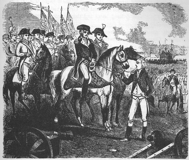 """Illustration from the book """"Songs of '76"""", by Oscar Brand. """"Cornwallis's Surrender""""."""