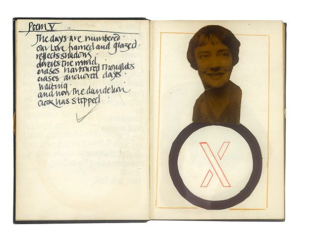 Derek Jarman: 1965 Untitled - Poems V and VI together with visual reponse. It is as if Jarman were trying to respond through collages to his own words, looking for the visual equivalent of a text. It is an early indication of his search to combine words and images. Jarman continued to write poetry and include it in his work throughtout his life
