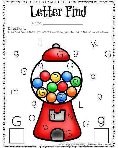 FREE printable letter find worksheet - G is for gumball. #worksheets #kindergarten #preschool #printables