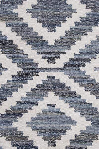 Ananya Rug (close up) by Sugarcane Trading Co Recycled denim and cotton mix.  Handmade with love in India.   Available in -  90cm x150cm  120cm x 180cm  160cm x 240cm  200cm x 300cm