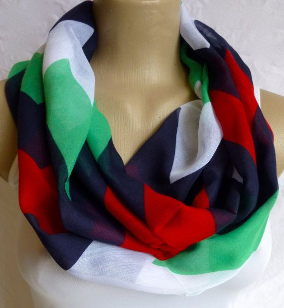 Infinity Scarf in Green Red Blue tones Chevron by ShawlsandtheCity, $17.00