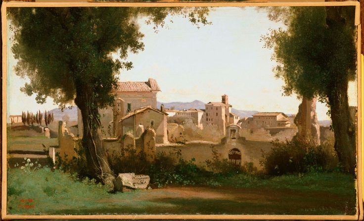 Vue prise de jardins Farnèse (Le matin) (View from the Farnese Gardens: Morning), March 1826, Oil on paper mounted on canvas, 24.5 x 40.1 cm (9 5/8 x 15¾), Stamped lower left: Vente Corot, Dated lower right: mars 1826, The Phillips Collection, Washington, D.C.