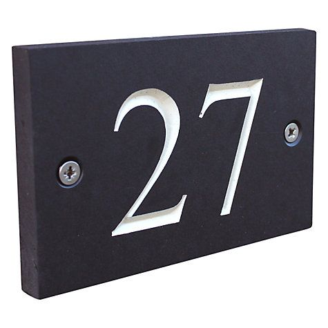 Buy ashortwalk Recycled Personalised Door Sign, House Number 1-99, Slate Effect Online at johnlewis.com