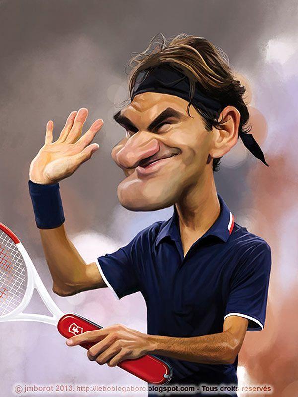 Caricatura de Roger Federer.