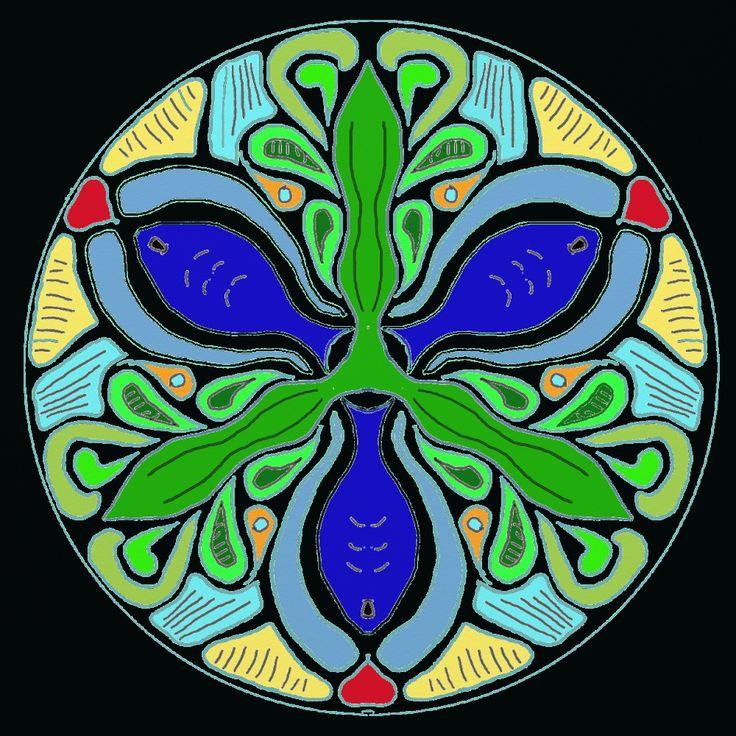 Fish Mandala, what it looks like when I begin imagining I'm swimming in the sea