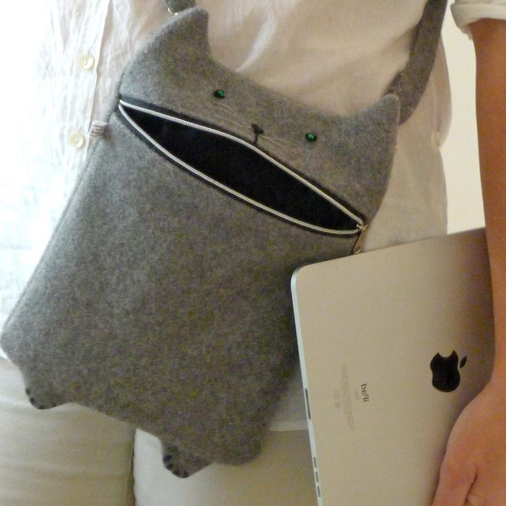 iPad case, messenger bag. This unique bag is inspired by my hungry grey cat, Kato. He will eat anything you need to keep safe in your bag. Made from the softest wool, it is perfect for your iPad or anything else that will fit, he is not a picky eater :) The wool is also a great way to clean the screen of you iPad, just wiggle it around a little and the smudges goes away. There is a detachable adjustable strap so he can be carried across like a messenger bag, or on the shoulder.    His mouth…